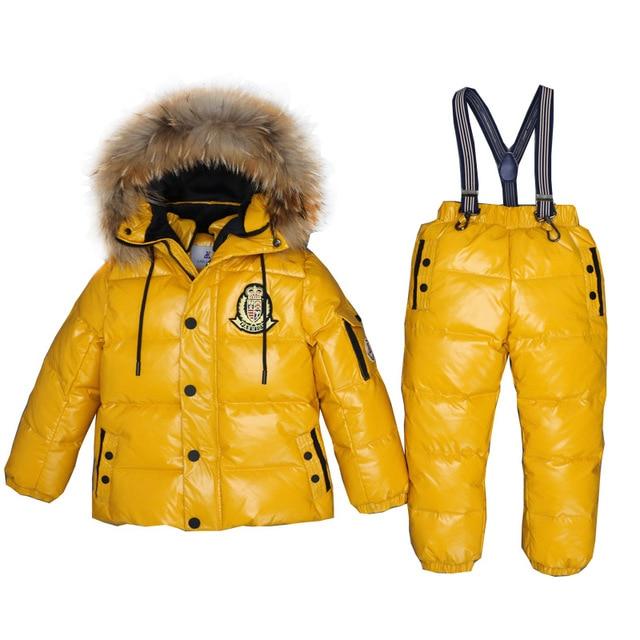 nouveau concept ea32d d0ad7 € 46.85 43% de réduction|3 ~ 7 ans enfants russes vraie fourrure vêtements  chauds ensembles garçon veste Snowsuit fille hiver bas manteau enfants ...