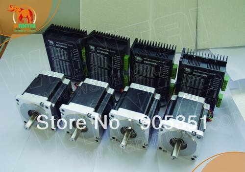 Best Selling! Wantai 4 Axis Nema 34 Stepper Motor 85BYGH450D-008 1090oz-in+Driver DQ860MA 7.8A 80V 256Micro CNC Mill Plasma Cut [usa for free] wantai 5pcs stepper motor driver dq860ma 80v 7 8a 256micro cnc router mill cut engraving grind foam embroidery