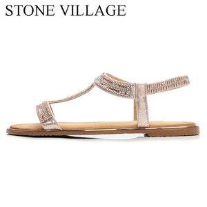 Image 2 - Zapatos informales con diamantes de imitación para mujer, sandalias de playa, estilo bohemio, Boca de pescado, para verano
