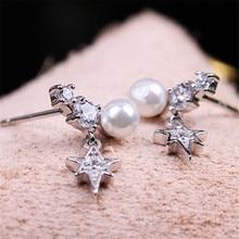s925 Snowflake Rhinestone Pearl Silver Stud Earrings Ladies Female Geometry Star Earring For Women Jewelry