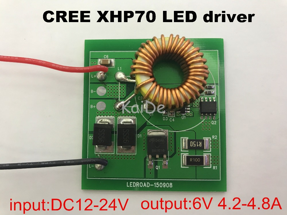 CREE XHP70 <font><b>led</b></font> <font><b>driver</b></font> input DC12-24V output <font><b>6V</b></font> 4.2-4.8A electrombile motorcycle modified circuit board <font><b>led</b></font> parts image