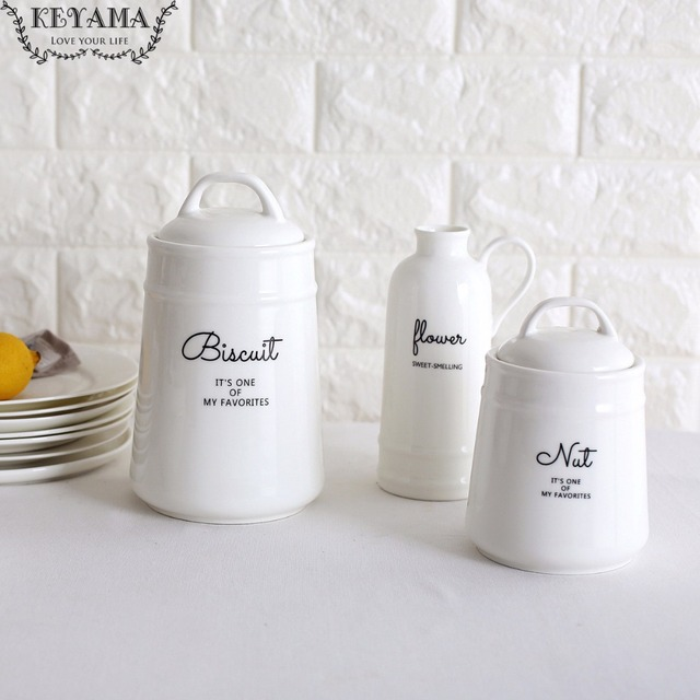 Keyama Nordic Style 1 Piece White Bone Ceramic Kitchen Storage Jar Creative Sealed Cans E Tank Decorative Bottles