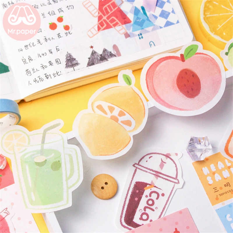 Mr Paper 30pcs/lot 24 Designs Kawaii Fruit Candy Juice Memo Pad Sticky Notes Notepad Diary Creative Self-Stick Notes Memo Pads