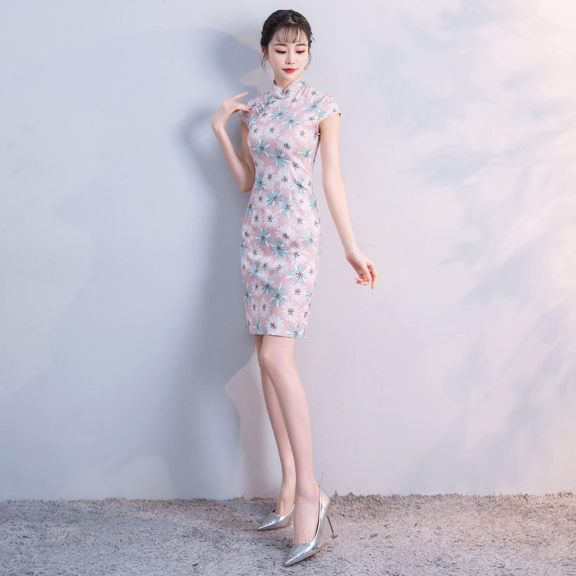 Summer New Women Pink Cotton Short Qipao Embroidery Slim Chinese Elegant Dress Print Floral Mandarin Collar Choengsam Vestidos