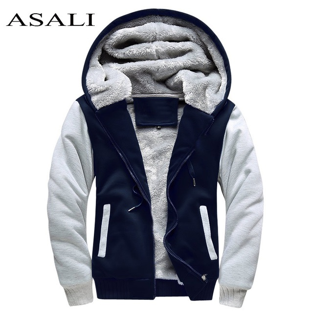 Асали Курточка бомбер Для мужчин 2018 новые брендовые зимние толстые теплые флисовые пальто на молнии для Для мужчин s спортивная одежда спортивный костюм мужской европейский толстовки
