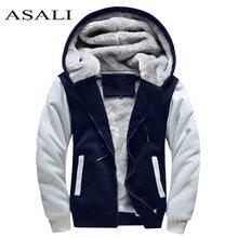 e58ea396826 Асали Курточка бомбер Для мужчин 2018 новые брендовые зимние толстые теплые  флисовые пальто на молнии для