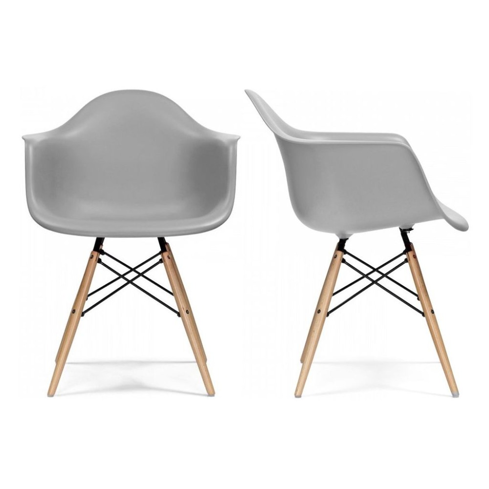 Eggree Mid Century Modern Accent Armchair Dining Chairs Molded Plastic Shell Wooden Legs For Bedroom Living Room Set Of 4 Grey Aliexpress Imall