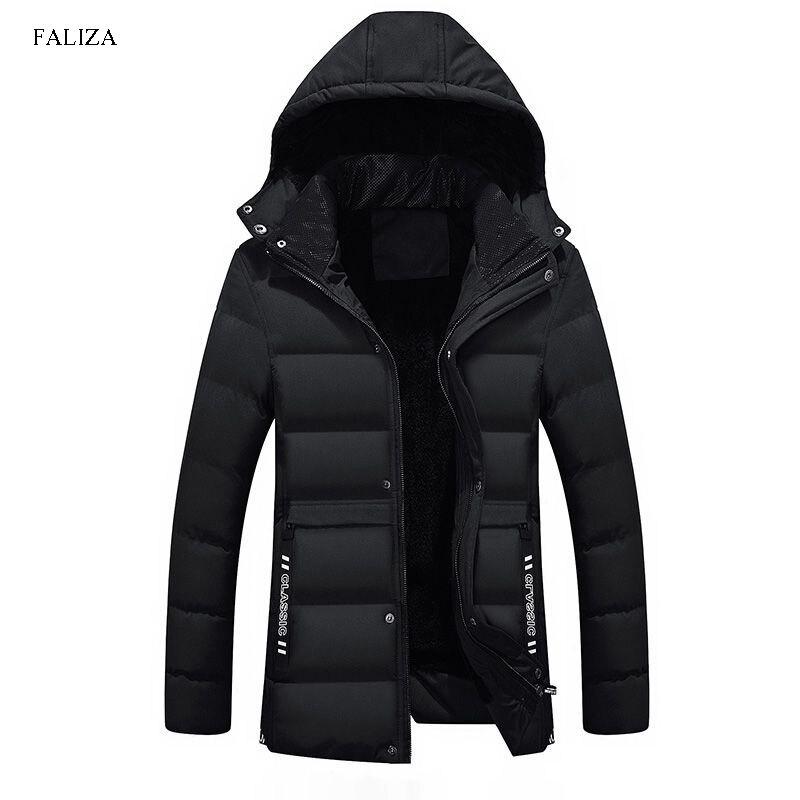 FALIZA Fashion Winter Fleece Lining Jacket Male Thick Warm   Parka   Men Hooded Padded Coat Fur Hood Men Outwear Windbreaker MY003