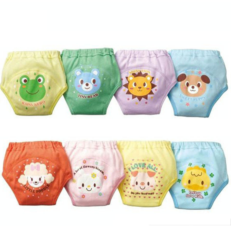 4pcs / lot imperméable bébé couches lavables formation de toilette garçon shorts fille sous-vêtements infantile pee apprentissage pantalon babi couches # 004