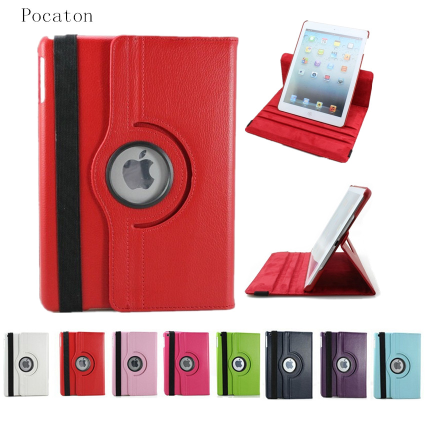 360 Rotation PU Leather case for Apple iPad Air 1 Smart cover ipad 5 flip tablet cases with stand function shell + Screen film magnet pu leather case for apple ipad mini 1 2 3 smart tablet cover with stand for pad mini with retina flip cases stylus
