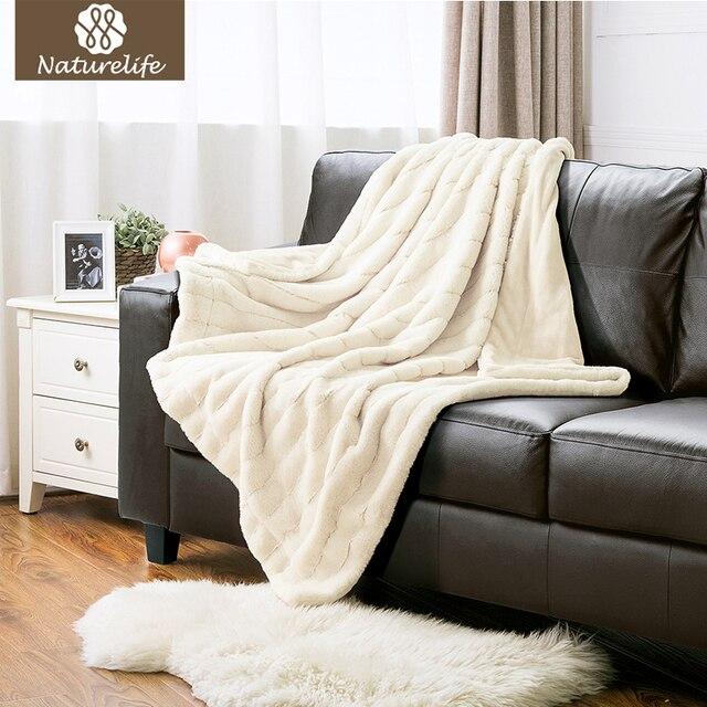Naturelife Jacquard Rabbit Soft Faux Fur Blanket Warm Pv Fleece Blankets Throw On Sofa Bed Plane