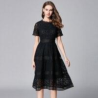 2019 elegant women A line lace dresses party short sleeves plus size high quality women hollow lace summer dress black