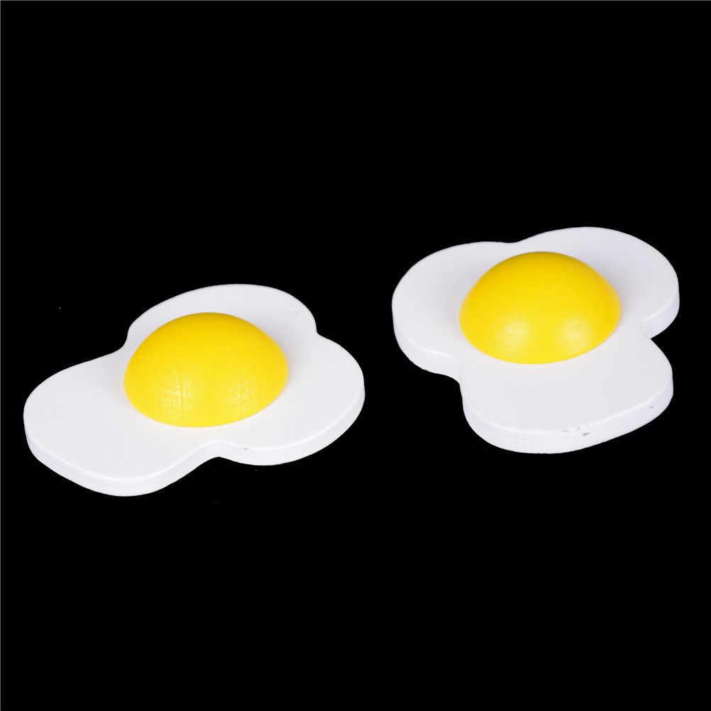 2pc drewniane magnetyczne omlety żółtko zabawka dla dzieci rozwojowa zabawa do kuchni do jedzenia udawać, że do odgrywania ról