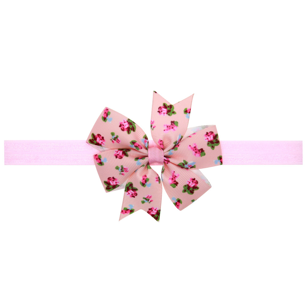NEW 2018 Girls Bowknot Elastic Headband Child Kids Hair Accessories Nylon Headbands Tiara Infantil Floral Print Hair Bands #JO newborn photography props child headband baby hair accessory baby hair accessory female child hair bands infant accessories