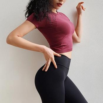 Short-sleeve Seamless Sport Shirts Women Crop Top Yoga Sport T-shirt Workout Tops Sports Wear For Women Gym Fitness Clothes 5