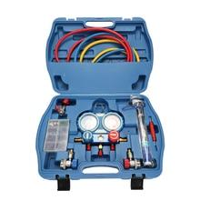 лучшая цена Professional Car Air Conditioning Refrigerant Pressure Gauge with Seal Rings Diagnostic Repairing Tool Kit