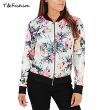 Women Spring Jackets Short Tops 2016 Long Sleeve Floral Print Coat Vintage Style Women Clothing Bomber Jacket Chaquetas Mujer