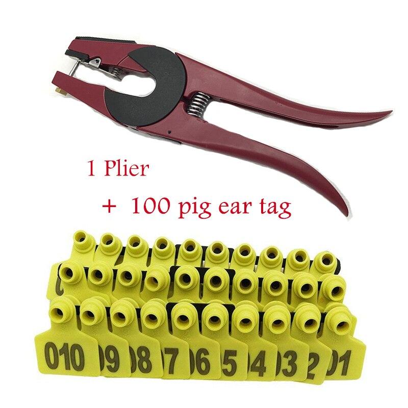 001-100 étiquette d'oreille de porc et Kit applicateur Anti-chute de bovins mouton chèvre animaux étiquettes avec pince