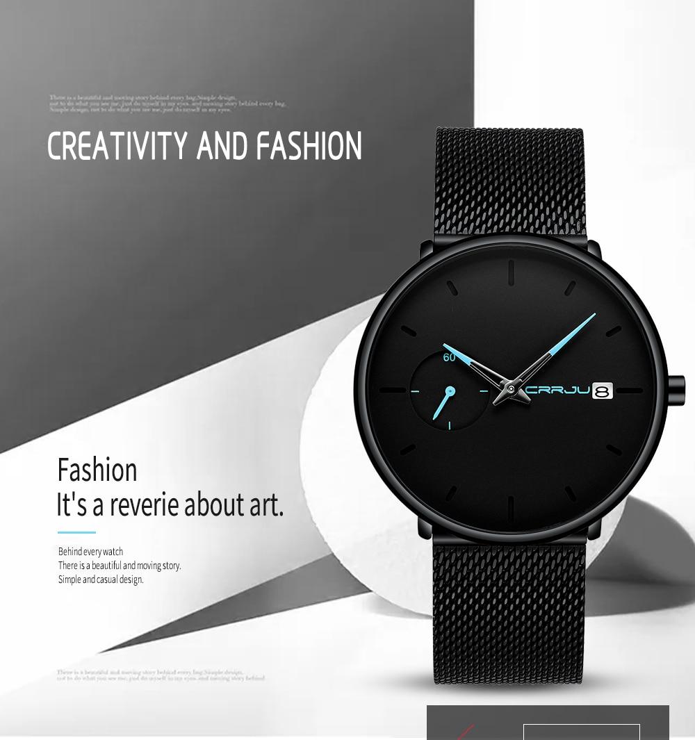Crrju Sports Date Mens Watches Top Brand Luxury Waterproof Sport Watch Men Ultra Thin Dial Quartz Watch Casual Relogio Masculino 3