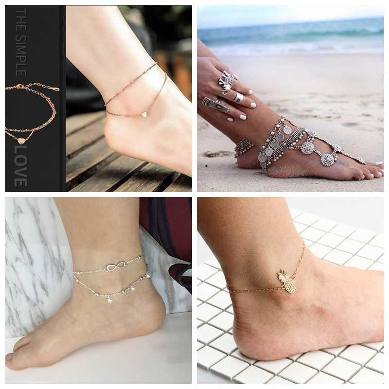 เงินทอง Moda Praia ข้อเท้าสร้อยข้อมือขาแฟชั่นฤดูร้อน 2019 เครื่องประดับ Tobilleras DE PLATA Para mujer