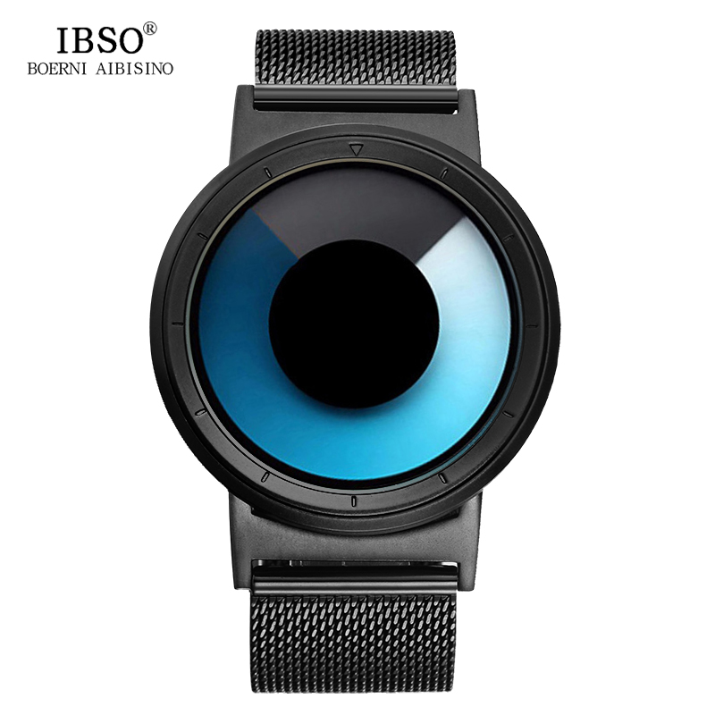IBSO Originals Watches Men Luxury Stainless Steel Mesh Band Quartz Watches Clock Creative Rotating Color Relogio Masculino 2017 high quality simple deaign men women quartz watches black white dial mesh stainless steel band modern clock gift reloj masculino