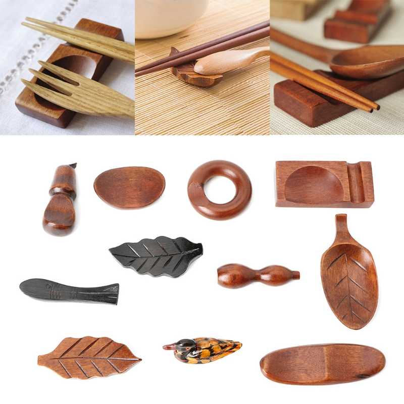 VFTERTE 1PC Cute Japanese Wooden Chopsticks Rest Spoon Fork Knife Holder Stand Rack Kitchen Tableware Chopsticks Rest