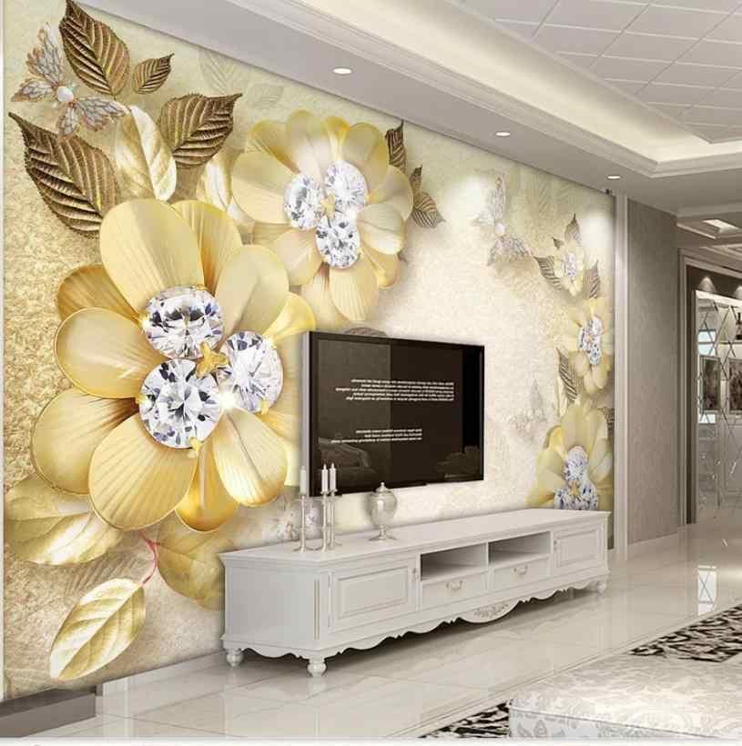 Européen de luxe or diamant fleur en soie bijoux fond mur fenêtre murale papier peint