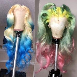 Image 5 - 613 dantel ön peruk brezilyalı vücut dalga şeffaf dantel peruk 10 26 inç rus platin bal sarı insan saçı peruk 13x 4/6 inç
