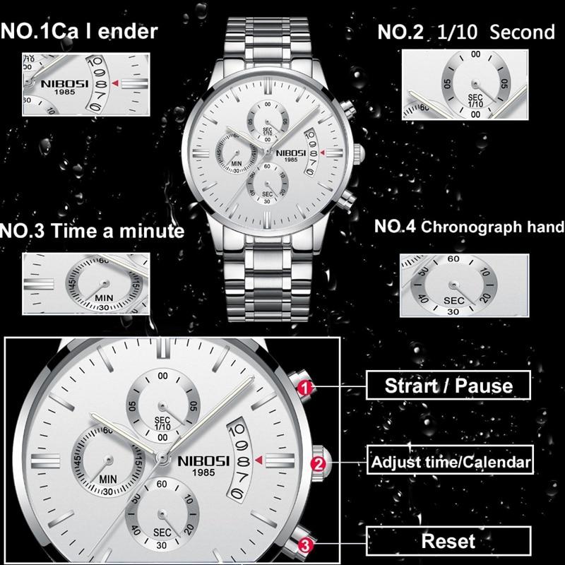 NIBOSI Men Watch Chronograph Sport Mens Watches Top Brand Luxury Waterproof Full Steel Quartz Gold Clock Men Relogio Masculino 1