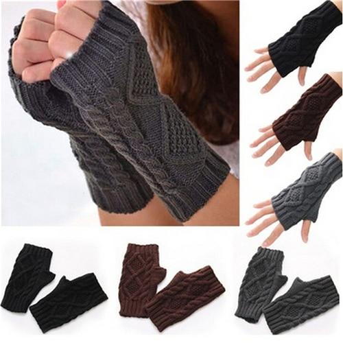 Unisex Men Women Arm Warmer Fingerless Knitted Long Gloves Cute Mittens Wholesale 7 Colors 1Pair