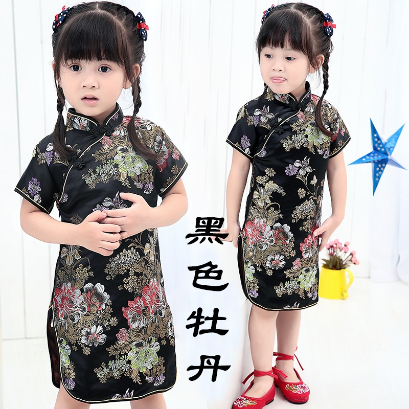 2017 New Summer Floral Baby Qipao Girls' Dresses Kid Chinese chi-pao cheongsam New Year gift Children's Clothes Robe 2017new chinese traditional baby girls chi pao cheongsam red dress new year gift children clothes kids embroidery party dresses