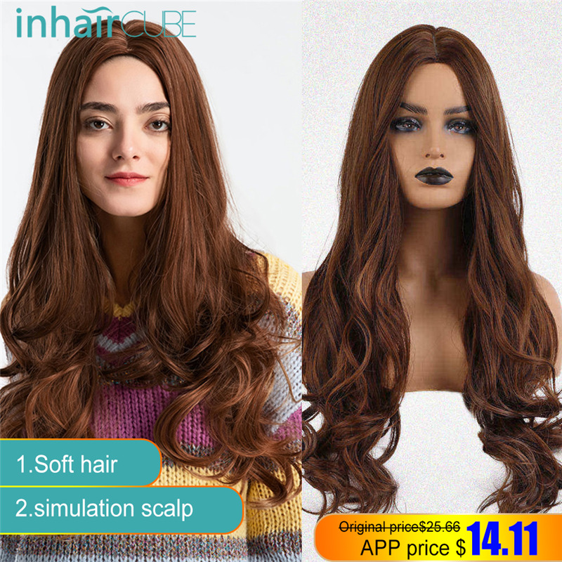 Esin Long Wavy Natural Cosplay Wigs 25 Inch Natural Women's Wig Costume Party Heat Resistant Synthetic wigs