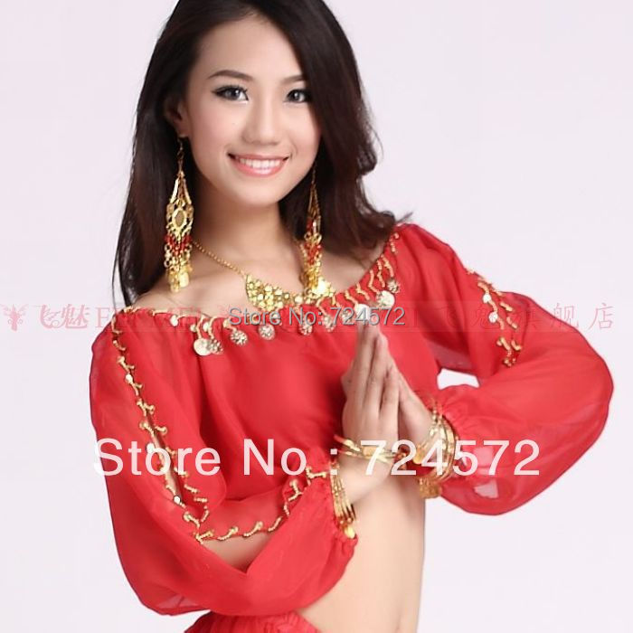 Belly Dance Costume Winter Chiffon Lantern Long Sleeves Gold Coins Top&tees For Belly Dancing Top