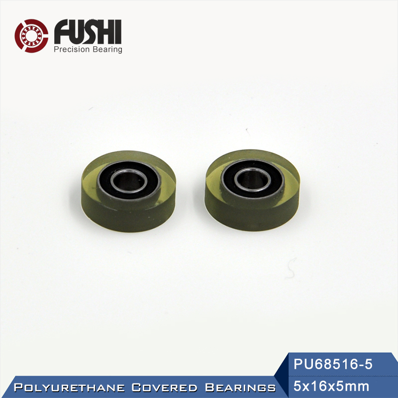 PU 685 Polyurethane Covered <font><b>Bearing</b></font> <font><b>5*16*5</b></font> mm ( 2 Pcs ) Shaft 5mm PU68516-5 Urethane Cover PU685 <font><b>Bearings</b></font> image