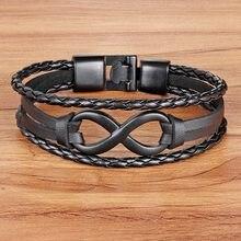 2f4540306e4d TYO Vintage marca símbolo infinito encanto pulsera brazalete con hebilla  clásica de la amistad de los hombres de cuero genuino d.