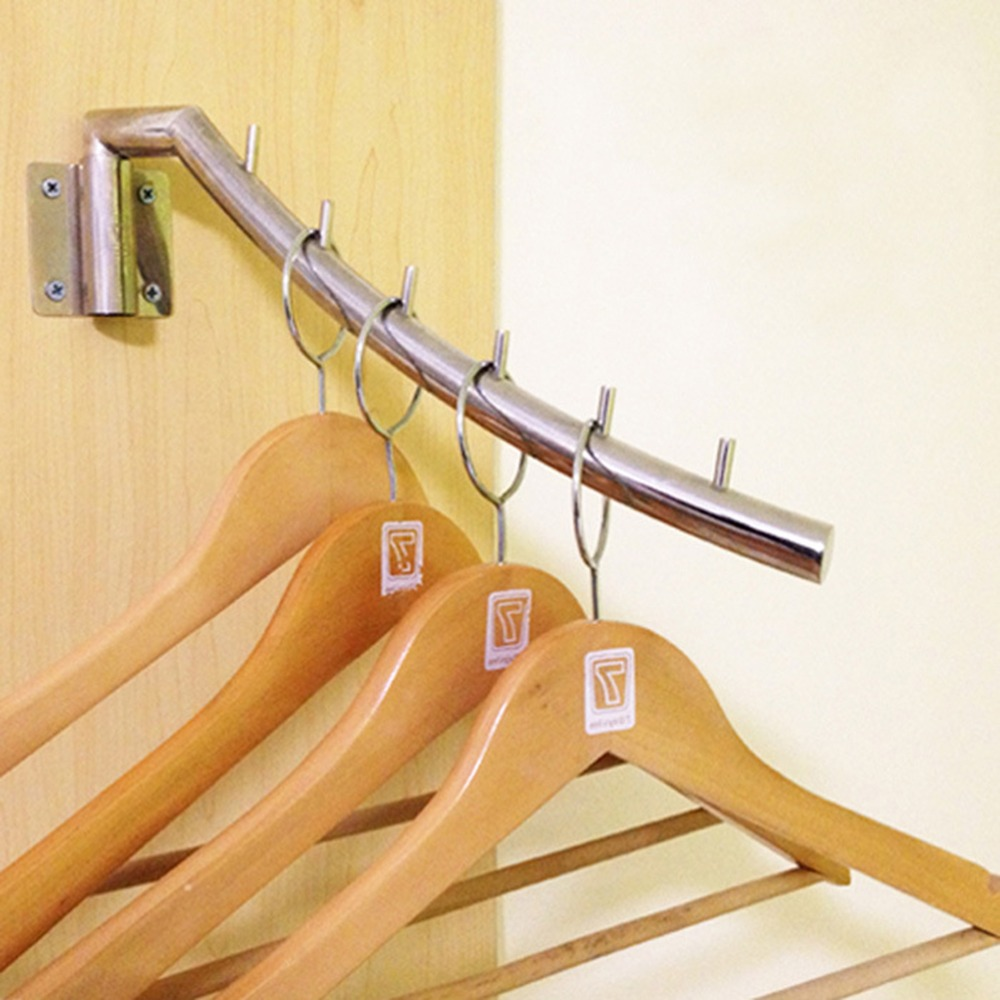 Robe Hooks Bathroom Hardware 1pcs Stainless Steel Clip Stand Clothes Hanger Pants Skirt Kid Clothes Swing Left And Right Save Space Clothing Organizer