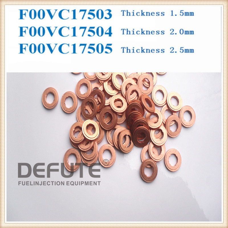 100 pieces F00VC17504 Common Rail Injector Copper Washer F00V C17 504, Copper gasket washer size: 7.1*15*2mm, thickness 2mm