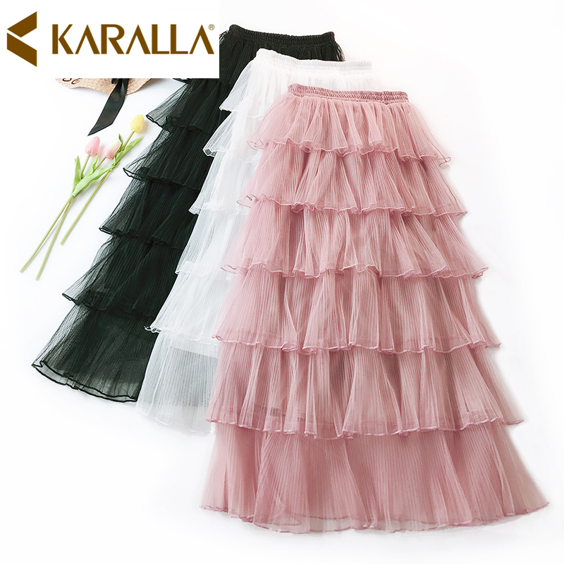 2019 Summer New Arrival Solid Color Layers Ruffled Lady Skirt Elegant Women Casual Mesh Skirt C858