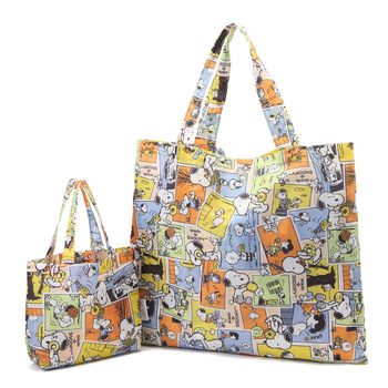 2Pcs/set New 3 Colors Eco-Friendly Reusable Shopping Bags Cartoon Large Capacity Collapsible Shoulder Bag Small Lunch Bag Сумка