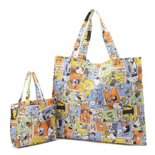 2Pcs set New 3 Colors Eco Friendly Reusable Shopping font b Bags b font Cartoon Large