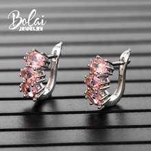Bolai 3-stone created morganite stud earrings real 925 sterling silver gemstone fine jewelry ear hoop for women wedding gift цена