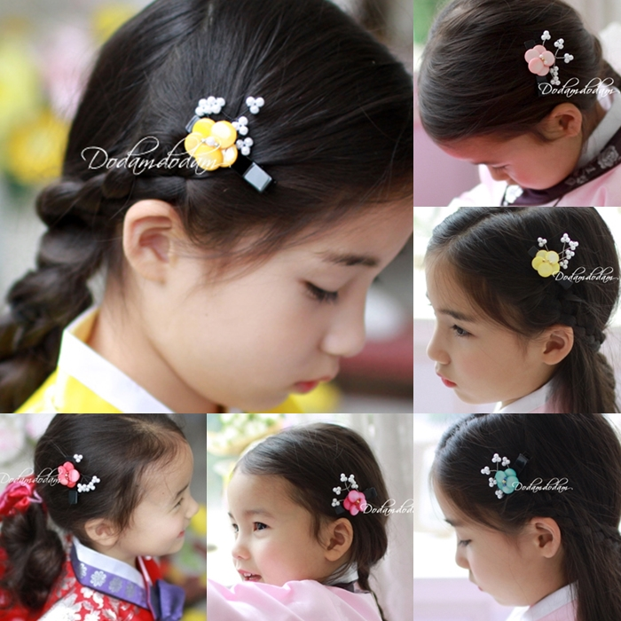 Traditional Ethnic Korean Hanbok Hair Accessories Little Girl Flower Side Hair Pins Little BB Pins
