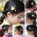Traditional Ethnic Korean Hanbok Hair Accessories Little Girl Flower Side Hair Pins Little BB Pins Cute Girl's Hair Accessories