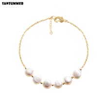 Sansummer 2019 New Hot Fashion White Freshwater Pearls Bracelets Popular Jewelry Charm Beaded Womens Banquet 7022a