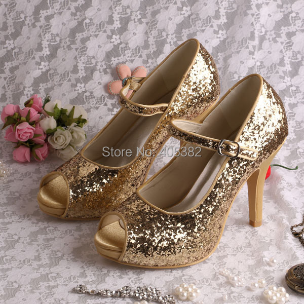 ФОТО Customized Ladies Golden Party Wear Shoes High Heel Mary Janes Open Toes Size 6