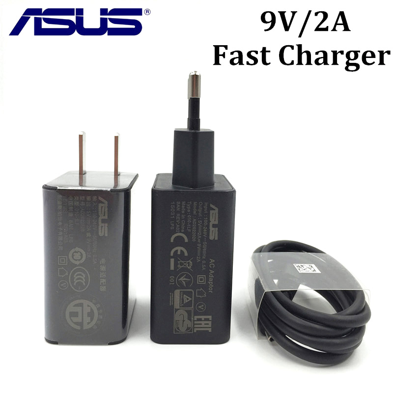 ASUS Zenfone 2/3 Fast Charger for ZE551ML Selfie/Go Ultra Deluxe Phone 9V/2A qc 2.0 quick charge Adapter Type C/Micro usb Cable