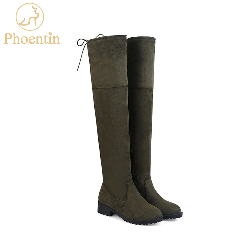 Phoentin thigh high boots flat with heel round toe over-the-knee lace-up women boot army green zipper hot sale 2017 winter FT142