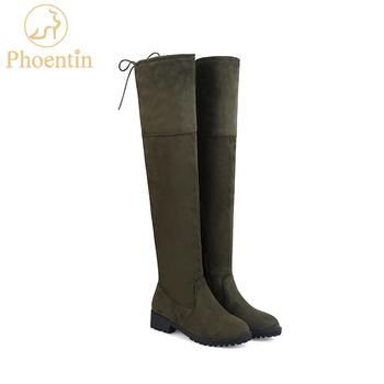 Phoentin udo wysokie buty płaskie z obcas okrągły toe over-the-knee sznurowane buty damskie armii zielony zamek gorąca sprzedaż 2017 zima FT142 tanie i dobre opinie Dla osób dorosłych Krótki plusz flokowane RUBBER zipper 0-3 cm Med (3 cm-5 cm) okrągły nosek Dobrze pasuje do rozmiaru wybierz swój normalny rozmiar