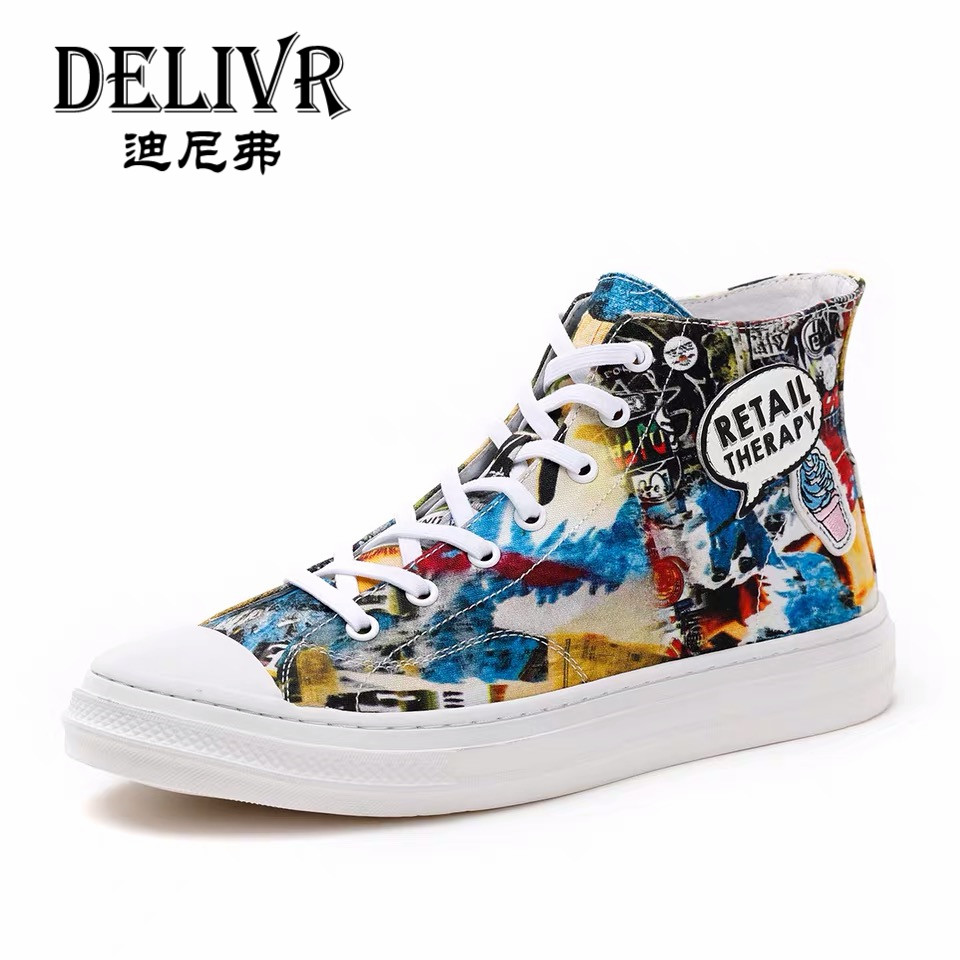 Delivr Men Sneakers Luxury Brand 2019 Newest Summer Fashion Graffiti Canvas Shoes Chunky Shoes Male Casual Vulcanized Shoes MensDelivr Men Sneakers Luxury Brand 2019 Newest Summer Fashion Graffiti Canvas Shoes Chunky Shoes Male Casual Vulcanized Shoes Mens