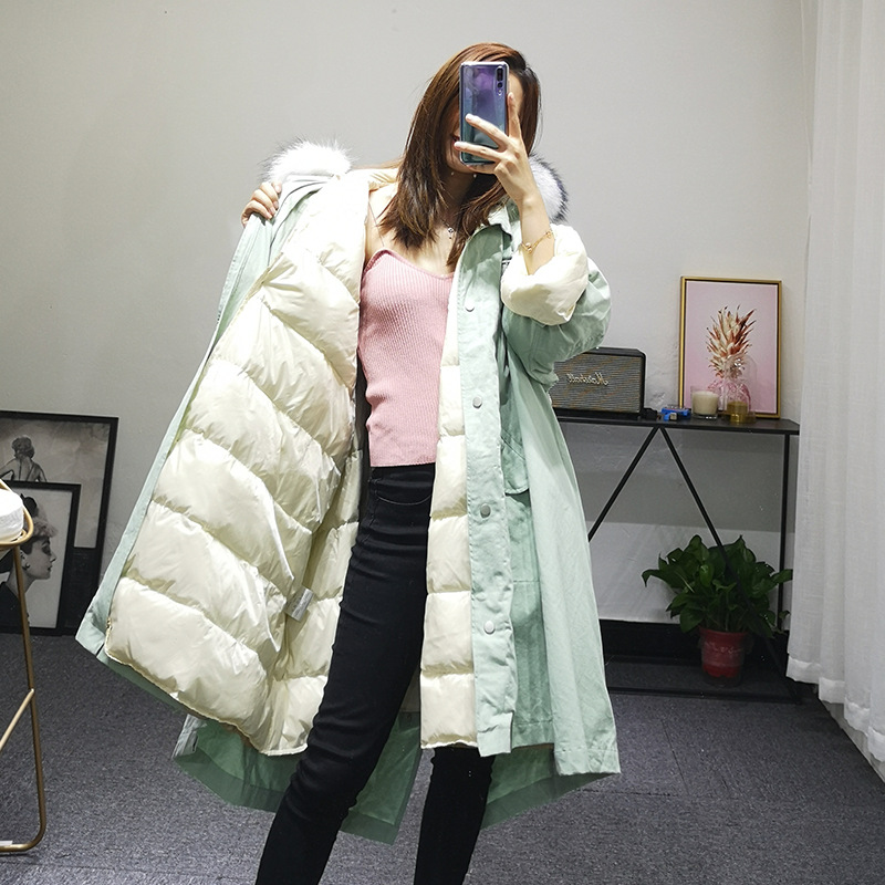 Women Winter Jacket Large Real Raccoon Fur Hooded Loose Detachable Lining Coat Solid Korean Parka White Duck Down Jacket 1209